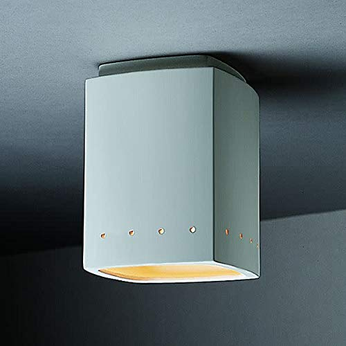 Justice Design Group Lighting CER-6105-BIS Flush-Mount with Ceramic Bisque Shades, White