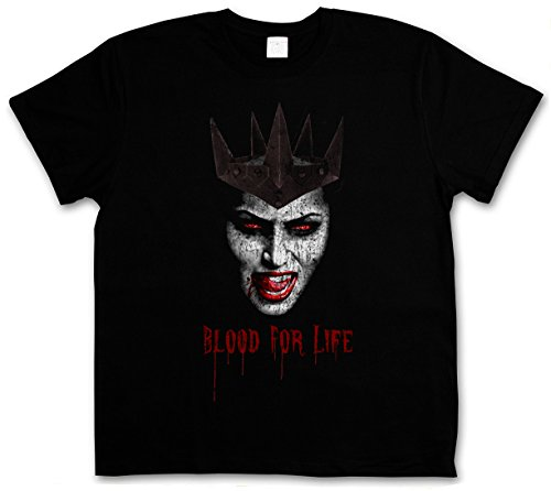 VAMPIRE BLOOD FOR LIFE T-SHIRT - Vampir Blut True Gebiss Zähne Biss Bite Teeth Jaws Blood Dracula Blood Count Bat Fledermaus Horror Hammer Creature Studios Nosferatu Größen S