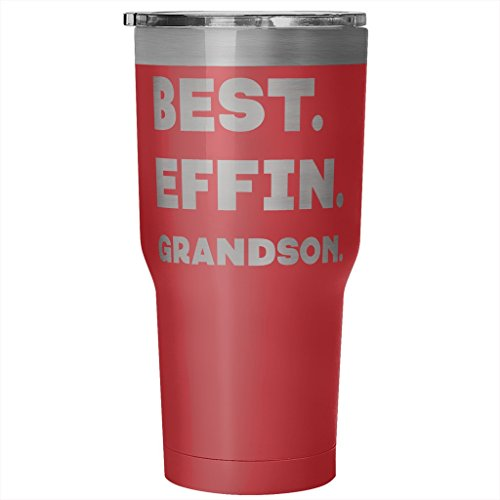 ArtsyMod BEST EFFIN GRANDSON Premium Vacuum Tumbler, PERFECT FUNNY GIFT for Your Grandson from Grandfather, Grandmother! Humorous Gift, Attractive Water Tumbler, 30oz. (Red)