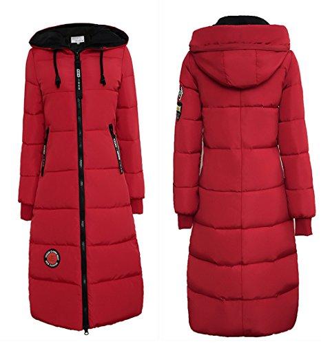 hacia abajo Mujeres capa gruesa del acolchado Delgado COMVIP Puffer Outwear algodón Rojo rodilla wIqx4np1O