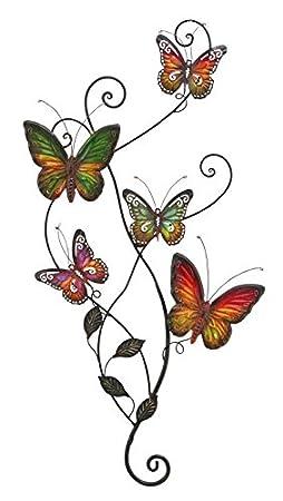 Metal Wall Decor Butterfly Sculpture 29x15, Multicolored Butterflies
