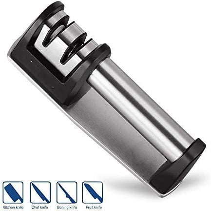 まっすぐな、鋸歯状になるナイフ、鋭くなる鋼鉄、皮をむくこと、シェフおよびナイフのために適した包丁の研ぎの専門家2レベルの手動研ぎナイフ (銀製)