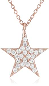 """Rose Gold Plated Silver Chain with Cubic Zirconia Pave Star Shape Pendant Necklace, 16""""+1.5"""" Extender"""