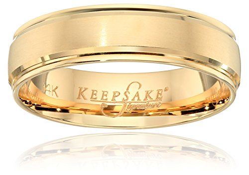 Men's Keepsake Signature 14k Yellow Gold 6mm Satin Center...