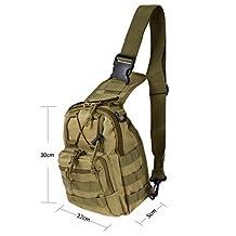 600D Outdoor Sports Bag Shoulder Military Camping Hiking Bag Tactical Backpack Utility Camping Travel Hiking Trekking Bag (Khaki)