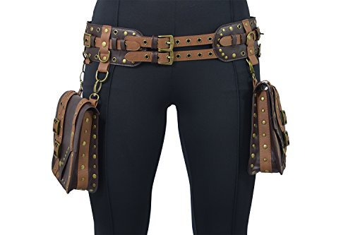 Restyle Western Steampunk Saddlebag Double Buckle Wide Utility Belt (S, Brown)