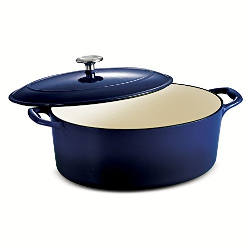 Tramontina Enameled Cast Iron Covered Oval Dutch Oven, 7-Quart, Gradated Cobalt