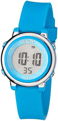 Montic Kids Blue Digital Sports Multi Function Watch Alarm and Stopwatch with Colored LED Display