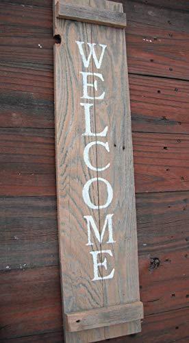 WELCOME Door Sign Wood Porch Vertical Reclaimed Cedar Handmade Farmhouse Weathered wood 30