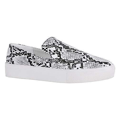 (Womens Snake Flatform Loafers Slip on Flat Platform Sneakers Walking Shoes)