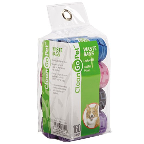 Clean Go Pet Dog Waste Bags, Value Pack, 8 Perforated Rolls of 20 Durable Leakproof Plastic Poop Bags Per Roll