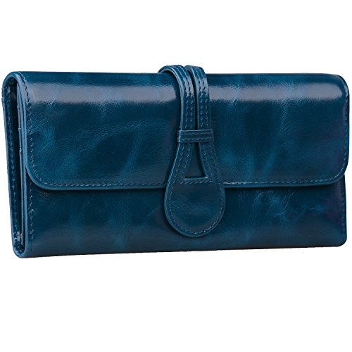 Jack&Chris Leather Checkbook Wallets for Women Multi Card Slot with Gift Box, WBXH053 - Chris Brown Blue