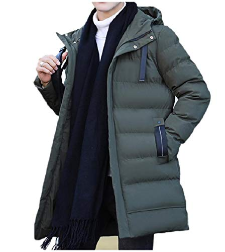 Howme-Men Brumal with Zips Pocket Hoodie Down Puffer Warm Parka Jacket Army Green