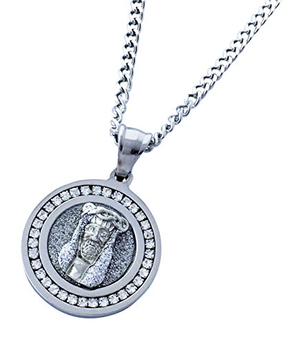 Exo Jewel Diamond Framed Mini Medallion Pendant Stainless Steel Necklace with 24