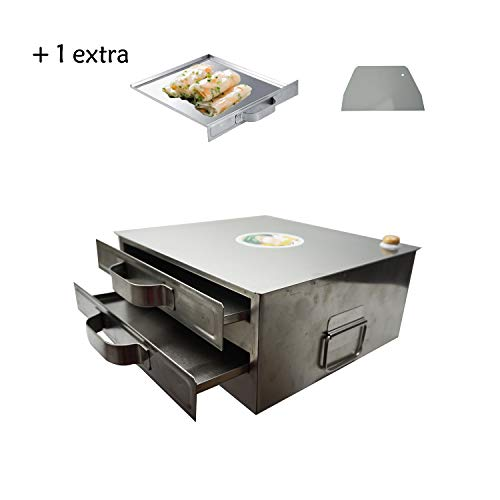 (Proshopping Stainless Steel Rice Rolls Machine, 2 Layer Rice Noodle Roll Steamer, Rice Roll Maker - with 1 Extra Drawer Tray and 1 Cleaner, for Food)