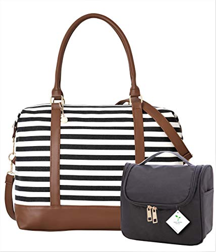 Ladies Women Canvas Travel Weekend Overnight Carry-on Shoulder Duffel Tote Bag and Cosmetic Bag -