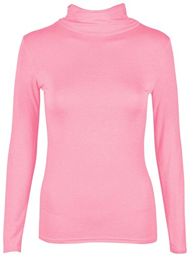 Polo Tee Roll manica Neck Turtle Pink lunga Plain Pink Donna Top T Donna Janisramone shirt elasticizzata waq0XI7X