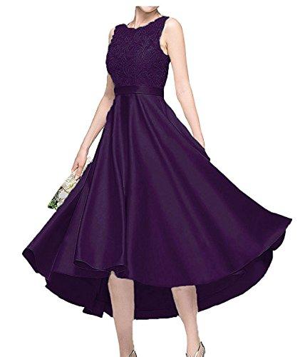 Kurzes Ballkleider Blau mit Traube Satin A Abendkleider Spitze Linie Charmant Damen Abschlussballkleider FqXx5waEnC