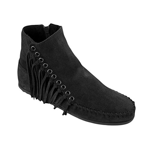M Minnetonka Women's Black Suede Boot Willow 6 5 U0T6US