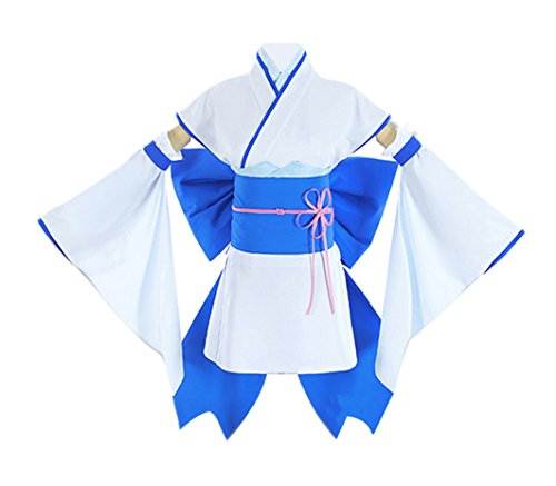 DOUJIONG Re Zero Rem/Ram Girls Lady Cosplay Costume Yukata Kimono Dress Set (L, Blue)