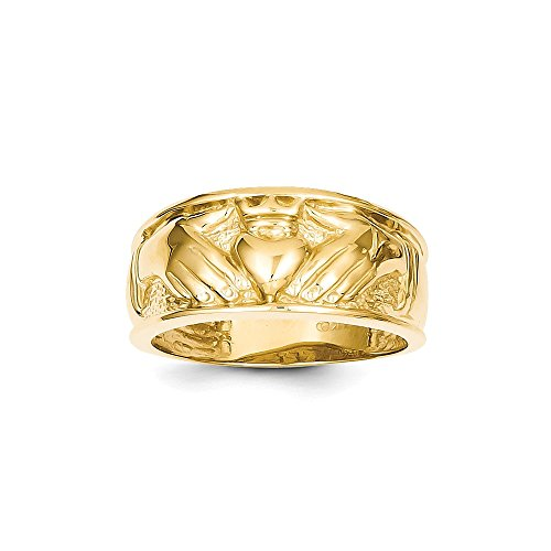 Size 12.5 - Solid 14k Yellow Gold Polished Men's Claddagh Wedding Band (24mm)