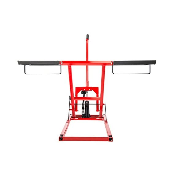 Pro Lift Lawn Mower Jack Lift with 300 Lbs Capacity for Tractors and Zero Turn Lawn Mowers 6 Safety Lock for Safely Supporting the Load Rubber Padded Platform to Prevent Scratching and to Protect your Machine Non-Slip Foot Pedal Allows Effortless Lifting the Load