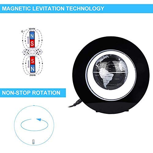 Desk Decoration - Magnetic Floating Globe with LED Lights, Magnetic Levitation Floating Globe World Map for Desk Decoration(Black) by Bonebit (Image #4)