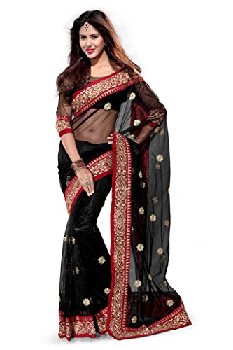 (Mirchi Fashion Women's Net Zari Wedding Party Wear Indian Saree Free Size multi-color)