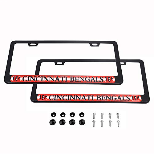 CHNNFC 2 Pack Luxury Stainless Steel License Plate Frame and Colored Auto Emblem (Cincinnati Bengals) Cincinnati Bengals License Plate Frame