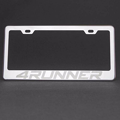 100% Stainless Steel License Plate Holder For Toyota 4RUNNER With Real Laser Engraving on Chrome Mirror Finished Surface ()