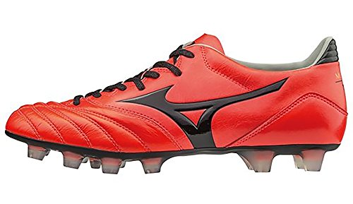 Morelia Neo K Leather MD FG Football Boots - Fiery Coral/Black - size 42 EU