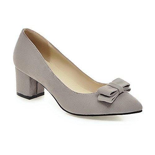 Allhqfashion Mujeres Sólido Helados Gatito Tacones Pull On Acentuados Cerrado Puño-zapatos Gris