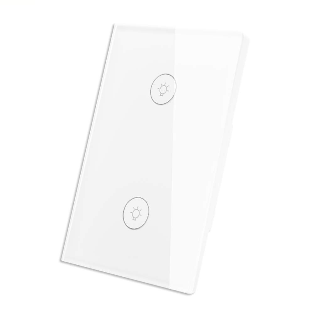 WiFi Smart Wall Touch Light Switch Glass Panel Wireless Remote Control by Mobile APP Anywhere Compatible with Alexa,Timing Function No Hub Required (Wall Switch 2 Gang)