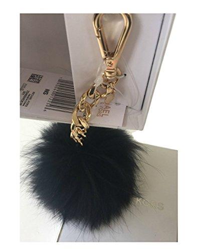 Michael Kors Small Fur Pom Key Chain Fob Bag Charm (Black/gold) (Key Chain Michael Gold Kors)