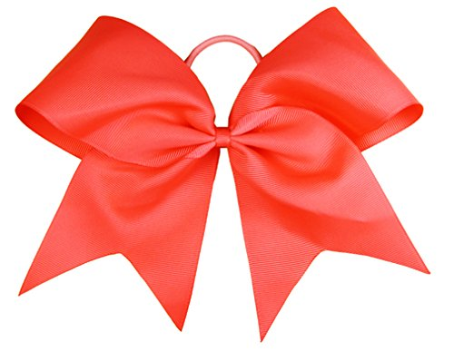 "HipGirl Boutique Girls Women 6"" Jumbo Large Cheer Bow Elastic Hair Tie Ponytail Holder for High School College Cheerleading (5pc Red)"