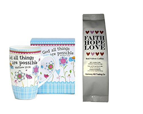 (With God All Things are Possible 1 Coffee Mug Cup with 1 Faith Hope Love Red Velvet Coffee Matthew 19:26 Christian Gift Set 2 Item Bundle)