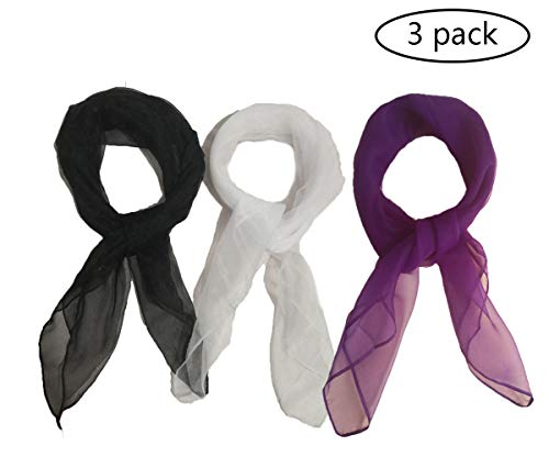 1950s Square Chiffon Scarf Sheer Square Neck Head Scarfs for Women,girls,ladies (white+black+purple)