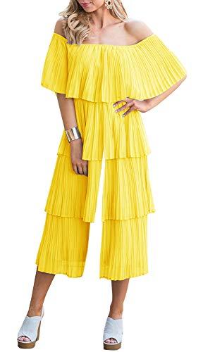 ETCYY Women's Summer Beach Romper Off The Shoulder Tiered Party Wide Leg High Waist Long Chiffon Jumpsuit Yellow