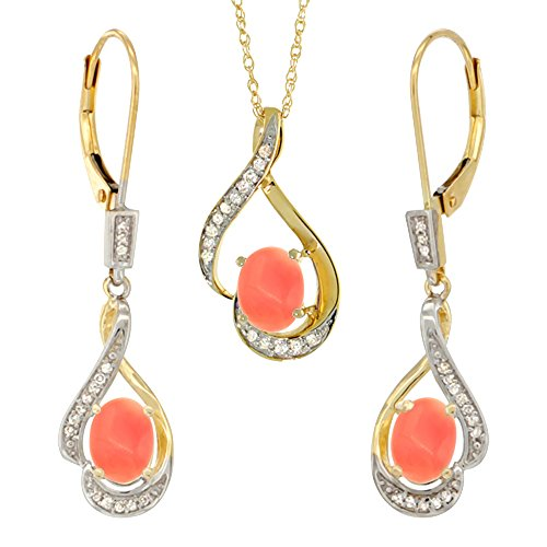 14K Yellow Gold Diamond Natural Coral Lever Back Earrings & Necklace Set Oval 7x5mm, 18 inch long