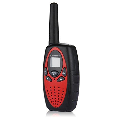 FLOUREON 4 Packs Walkie Talkies Two Way Radios 22 Channel 3000M (MAX 5000M open field) UHF Long Range Handheld Talkies Talky (Red) by floureon (Image #2)