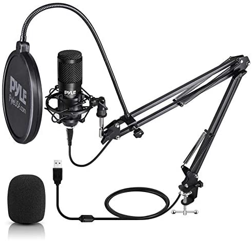 USB Microphone Boom Mic Kit - Audio Cardioid Condenser Mic w/Boom Arm Stand and Pop Filter - for Gaming PS4 Streaming Podcast Kit Studio YouTube Works w/Windows Mac PC - Pyle PDMIKT140