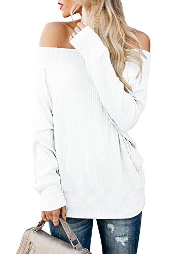 Imysty Womens Off Shoulder Sweaters Pullover Casual Oversized Waffle Knit Tunic Tops
