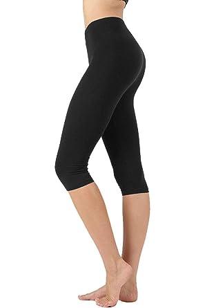 a8be00ed4d2048 NioBe Clothing Womens High Waist Basic Solid Cotton Soft Capri Leggings  (Small, Black)