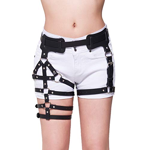43dcfdb4db6bc Homelix Sexy Punk Leather Waist Leg Caged Harness Gothic Garter Belt For  Women (style 3)