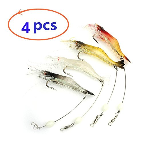 Nawaish Artificial Silicone Soft Bait Set, Luminous Shrimp Fishing Lure with Hook Fishing Tackle, Freshwater/Saltwater (4 Pcs)