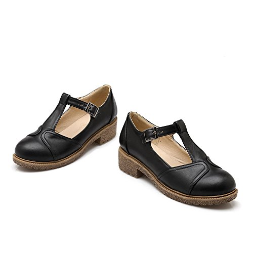 VogueZone009 Women's Low-Heels Solid Buckle Soft Material Round Closed Toe Pumps-Shoes Black 7nZFUqpums