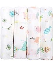 softan Muslin baby swaddle filtar, bambu mottagande filtar för pojkar och flickor, 120 x 120 cm, 4-pack, dusch presentset