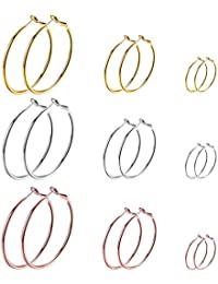 9 Pairs Big Gold Silver Rose Gold Plated Hoop Earrings Set for Women Girls Stainless Steel Earrings Hypoallergenic Fashion Jewelry Gift