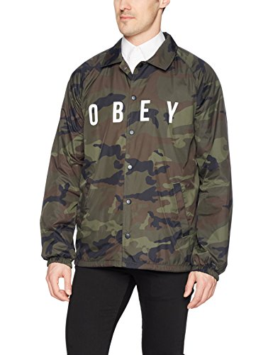 - Obey Men's Anyway Coaches Jacket, Camo, L