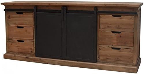 Mueble aparador horizontal de estilo industrial, puerta corredera con ruedas de hierro: Amazon.es: Hogar